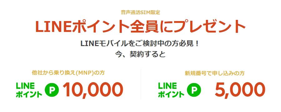2019年1月LINEモバイル「乗り換えでLINEポイント全員にプレゼントキャンペーン」